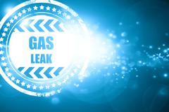 Blue stamp on a glittering background: Gas leak background Stock Illustration