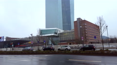 European Central Bank, intersection, rainy day, tilt up, Frankfurt, Germany Stock Footage