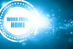 Blue stamp on a glittering background: work from home - stock illustration