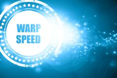 Blue stamp on a glittering background: warp speed - stock illustration