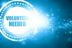 Blue stamp on a glittering background: volunteer needed - stock illustration