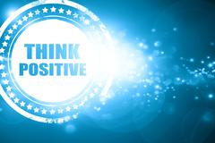 Blue stamp on a glittering background: think positive - stock illustration