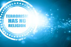Blue stamp on a glittering background: terrorism has no religion - stock illustration
