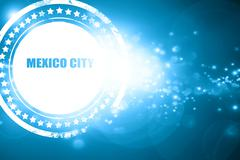 Blue stamp on a glittering background: mexico city - stock illustration