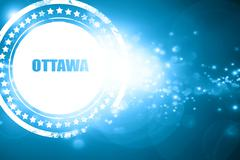 Blue stamp on a glittering background: ottawa - stock illustration