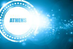 Blue stamp on a glittering background: athens - stock illustration