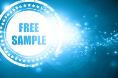 Blue stamp on a glittering background: free sample sign - stock illustration