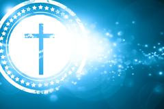 Blue stamp on a glittering background: Christian cross icon - stock illustration