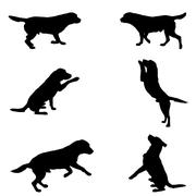 silhouette of dogs - stock illustration