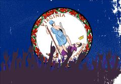 Virginia State Flag with Audience - stock illustration