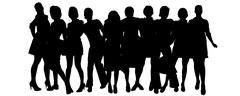 Vector silhouette of a group of people. - stock illustration