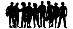 Vector silhouette of a group of people. Stock Illustration