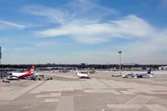 Time Lapse Duesseldorf Airport International Stock Footage