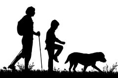 Vector silhouette of the family. - stock illustration