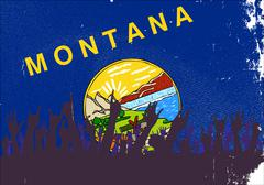 Montana State Flag with Audience - stock illustration