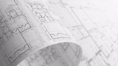 Architectural Plans Background, Seamless Loop. Stock Footage