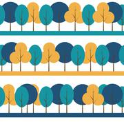 Different Trees Natural Seamless Pattern Background Illus - stock illustration