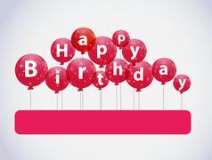 Happy Birthday Color Glossy Balloons Background Illustrat - stock illustration