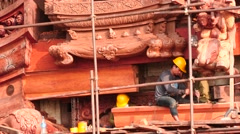 Workers making relief at Sanctuary of truth in Thailand  Stock Footage