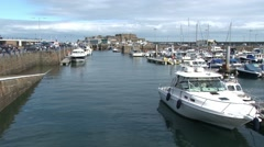 View over the harbour and marina of St Peter Port Stock Footage