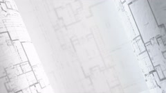 Architectural Plans Background, Architecture Blueprints. Loop. Stock Footage