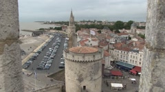 View over looking the town of La Rochelle Stock Footage