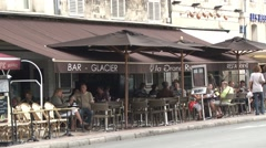Busy cafe in La Rochelle Stock Footage