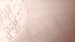 Architectural Plans Background, Loop. Stock Footage