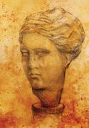 Hand drawn woman  head, Gypsum bust drawn. Rome Empire woman - stock illustration