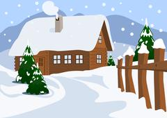 Chalet in Winter, Vector Illustration - stock illustration