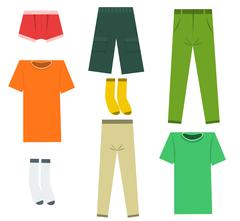 Set of flat men clothes and accessories. Vector illustration - stock illustration