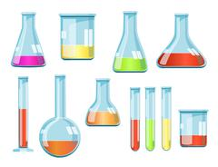Vector laboratory glassware with liquids of different colors - stock illustration