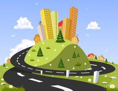 Abstract vector city on the hill. Summer Stock Illustration