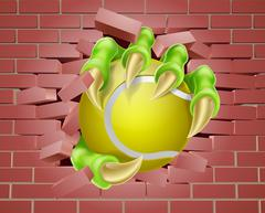 Claw with Tennis Ball Breaking Through Brick Wall Stock Illustration
