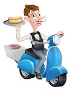 Cartoon Butler on Scooter Moped Delivering Hotdog Stock Illustration