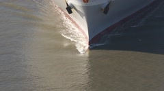 Ship bow wave CU from helicopter Stock Footage