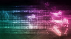 Futuristic Race Concept with Technology Background as Art Stock Footage