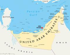UAE United Arab Emirates Political Map Stock Illustration