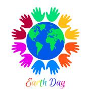 Kids palms around planet Earth Stock Illustration