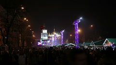 Millions of happy people enjoying festive concert on central square in big city Stock Footage