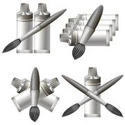 Set of Different Grey Paint Icon - stock illustration