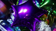 Many bright balloons creating atmosphere of happiness at celebratory party Stock Footage
