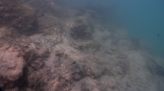 Ocean scenery shallow sun dapple, on river mouth rock wall, HD, UP32370 Stock Footage