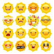 Fun Sun Emojis - stock illustration