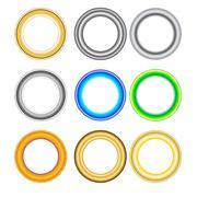 Vector frames set. Gold frame, silver and other bright vintage frames. - stock illustration