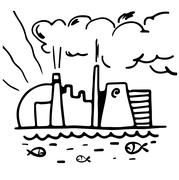 Factory pollution and fish in water vector illustration black on white.. - stock illustration