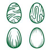 Happy Easter eggs vector card illustration hand drawn with easter eggs. Stock Illustration