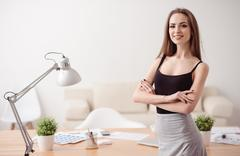 Pleasant woman expressing confidence - stock photo