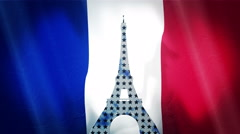 Starry Eiffel Tower Elegant Silhouette Over French Flag With Loop Ready Stock Footage