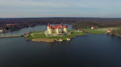 Flight over Castle Moritzburg in Saxony Germany - stock footage